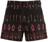 Rachel Comey Plateau flame-ikat mid-rise cotton shorts