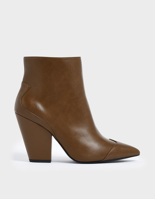 Charles & Keith Wrinkled Patent Zip-Up Chunky Heel Ankle Boots