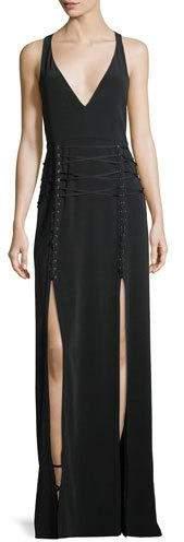 Haute Hippie Philosophers Stone Lace-Up Double-Slit Gown