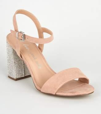 New Look Wide Fit Suedette Gem Embellished Heels
