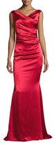 Talbot Runhof Kombo Sleeveless Draped Satin Gown, Red