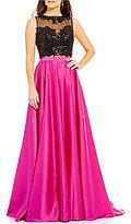 JVN by Jovani Sequin Open-Back Top Two-Piece Color Block Long Dress