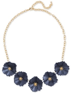 """Zenzii Gold-Tone & Suede Painted Finish Camellia Statement Necklace, 17-1/2"""" + 2"""" extender"""