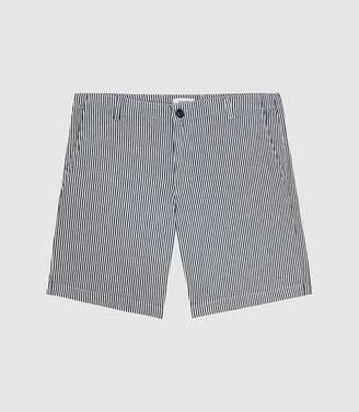 Reiss Batch - Cotton Drawstring Shorts in White/blue