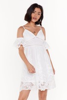 Nasty Gal Womens In My Happy Lace Cold Shoulder Mini Dress - White - 6, White