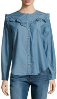 MiH Jeans Niki Ruffle-Yoke Chambray Shirt, Blue