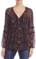 Daniel Rainn Printed Lace Boho Top