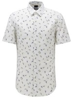 BOSS Floral-print shirt in linen with cotton