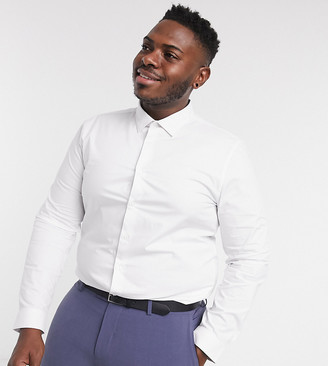 Topman Big & Tall long sleeve stretch shirt in white