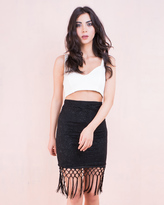Missy Empire Jasmy Black Floral Lace Tassel Midi Skirt