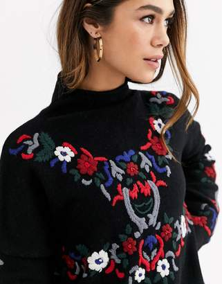 French Connection Emily embroidered lambswool blend jumper-Black