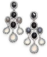 David Yurman St. Silver Chandelier Dangling Diamond Onyx Earrings New 22e