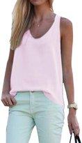 Pofachawis Women's Chiffon Sleeveless Solid Basic Tunic Tank Tops L