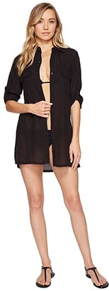 Lauren Ralph Lauren Crushed Camp Shirt Cover-Up (Black) Women's Swimwear