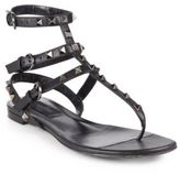 Valentino Noir Rockstud Leather Thong Sandals