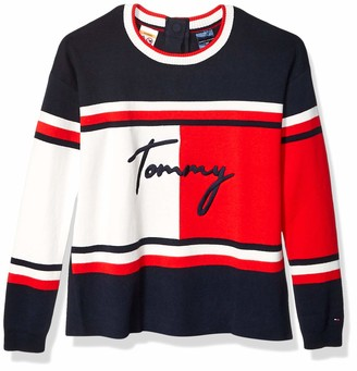 Tommy Hilfiger Women's Adaptive Colorblock Sweater with Magnetic Closure at Center Back