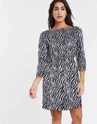 Vila belted shift dress in zebra