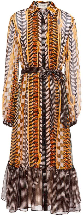 Temperley London Sweetpea Belted Printed Silk-chiffon Shirt Dress
