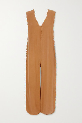 CARAVANA Net Sustain Oxku Fringed Cotton-gauze Jumpsuit