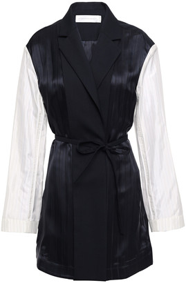 Victoria Victoria Beckham Two-tone Twill And Satin-jacquard Blazer