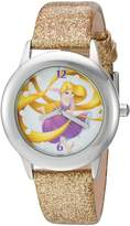 Disney Girl's 'Rapunzel' Quartz Stainless Steel and Leather Automatic Watch, Color:-Toned (Model: W002964)