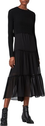 AllSaints Tilly 2-in-1 Tiered Slipdress & Crop Merino Wool Sweater