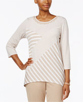 Alfred Dunner Patchwork Beaded-Neck Top