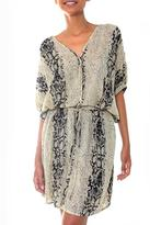 Black and Ivory Hand Stamped Snakeskin Motif Rayon Dress, 'Serpent Lady'