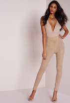 Missguided Faux Suede High Waisted Skinny Pants Nude