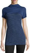 Koral Activewear Hooded Popover Knit Tee, Steel Blue