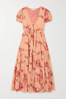 LoveShackFancy Carlton Tiered Floral-print Swiss-dot Cotton Midi Dress - Blush