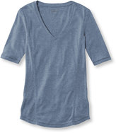 L.L. Bean Women's Pima Cotton/Modal Fitted Tee, Elbow-Sleeve V-Neck