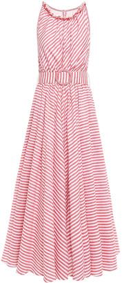 Gül Hürgel Belted Striped Cotton And Linen-blend Midi Dress