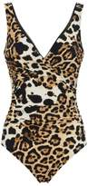 Shan Ruched Leopard Print Swimsuit