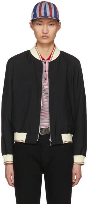 Thom Browne Black Ribbed Zip-Up Bomber Jacket