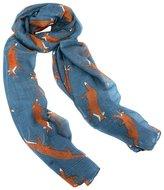 Joy Susan Steel Blue Fox Trot Scarf - Blue