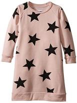 Nununu Star Print A-Line Sweatshirt Dress (Infant/Toddler/Little Kids)