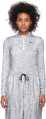 Nike White and Grey Python Long Sleeve Bodysuit
