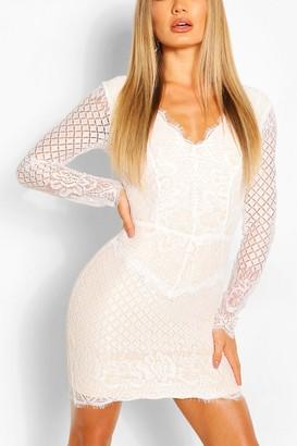 boohoo All Over Lace Bodycon Midi Dress