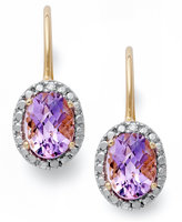 Townsend Victoria 18k Gold over Sterling Silver Earrings, Amethyst (2-1/2 ct. t.w.) and Diamond Accent Leverback Earrings