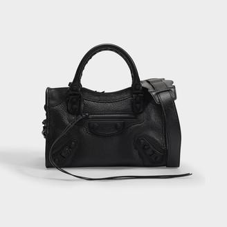 Balenciaga City Mini Metallic Bag In Black Goatskin