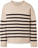 Vince Tie-detailed Striped Cashmere Sweater - Cream
