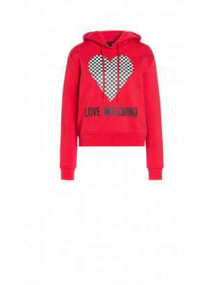 Love Moschino Heart Hoodie Woman Red Size 38 It - (4 Us)