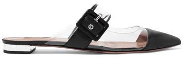 Aquazzura Seduction Pvc And Leather Slippers - Black
