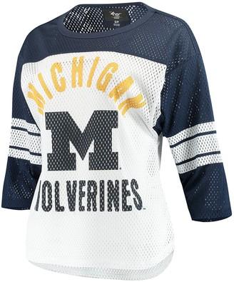 G Iii Women's G-III 4Her by Carl Banks White/Navy Michigan Wolverines First Team Mesh 3/4-Sleeve T-Shirt