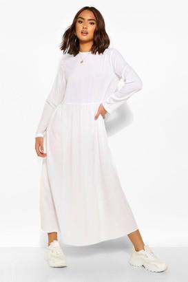 boohoo Long Sleeve Drop Waist Midaxi Dress