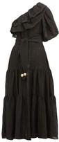 Lisa Marie Fernandez Arden One-shoulder Ruffled Linen-blend Dress - Womens - Black