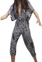 Norma Kamali Women's Rectangle Jog Jumpsuit - Grey Leopard