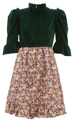 Batsheva Floral Print Cotton Canvas And Velvet Dress - Womens - Green