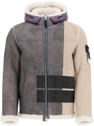 Stone Island SHEARLING BOMBER JACKET L Grey, Beige Fur, Leather
